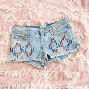 Roxy Demin Embroider Colorful Aztec Cut Off Shorts